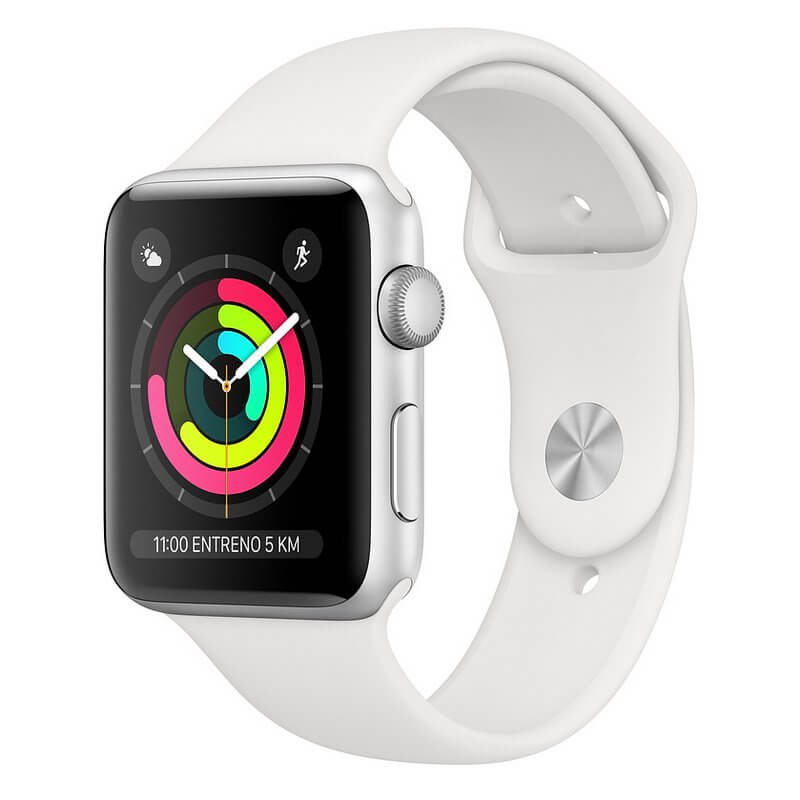 Apple Watch Series 3 GPS 8GB 42mm Aluminio Plata Con Correa Deportiva Blanca