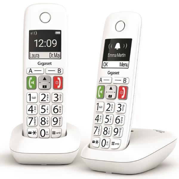 Gigaset E290 Teléfono Inalámbrico DUO Teclas Grandes Blanco