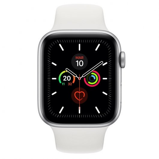Apple Watch Series 5 GPS 44mm Aluminio Plata con Correa Deportiva Blanca