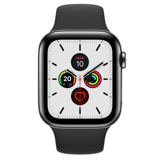 Apple Watch Series 5 GPS 44mm + Cellular Acero Inoxidable Gris Espacial con Correa Deportiva Negra