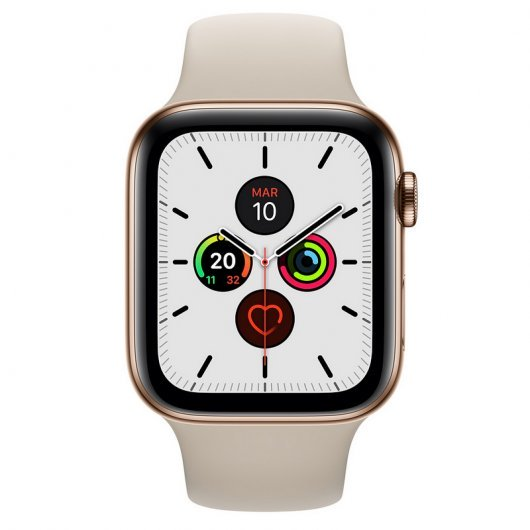 Apple Watch Series 5 GPS 44mm + Cellular Acero Inoxidable Dorado con Correa Deportiva Piedra