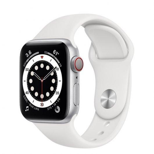 Apple Watch 6 GPS + Cellular 44mm Aluminio Plata/correa deportiva Blanca