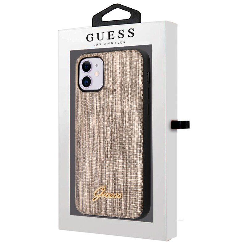 Carcasa IPhone 11 Licencia Guess Glitter Dorado