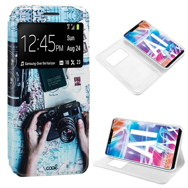Funda Flip Cover Huawei Mate 20 Lite Dibujos Travel